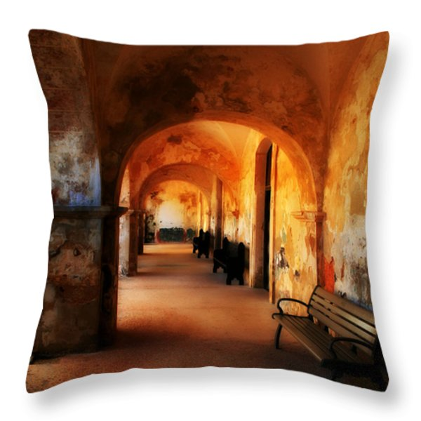 Arched Spanish Hall Throw Pillow by Perry Webster