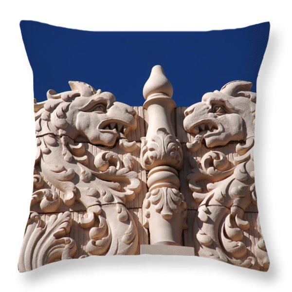 Architecture At The Lensic Theater In Santa Fe Throw Pillow by Susanne Van Hulst