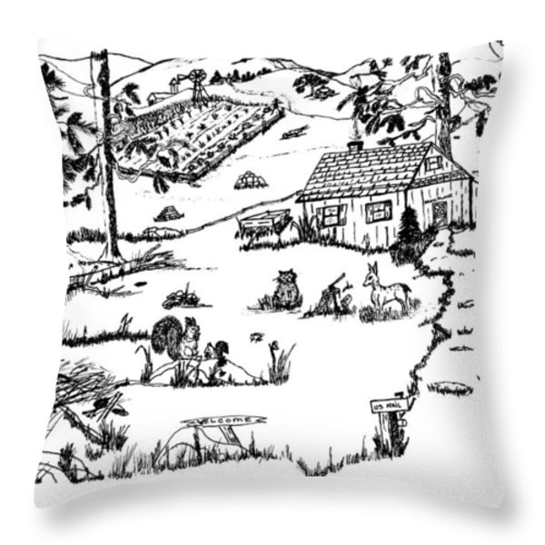 Arlenne's IDYLLIC FARM Throw Pillow by Daniel Hagerman