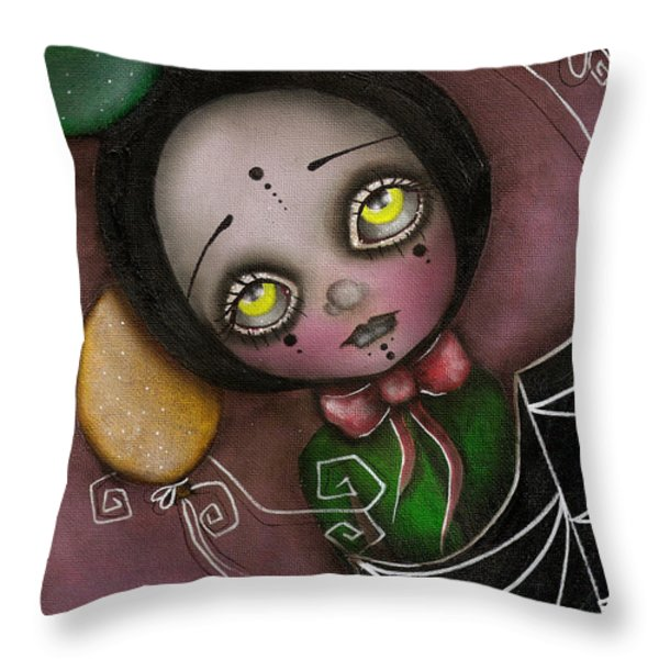 Arlequin Clown Girl Throw Pillow by Abril Andrade Griffith