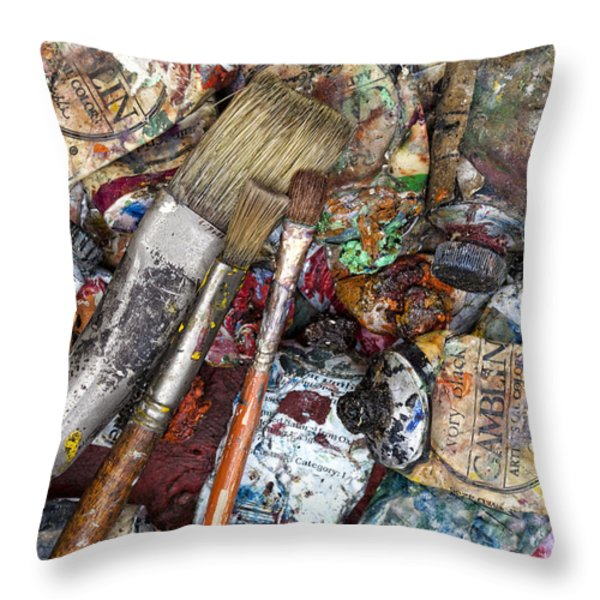 Art Is Messy 5 Throw Pillow by Carol Leigh