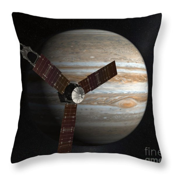 Artists Concept Of The Juno Spacecraft Throw Pillow by Stocktrek Images