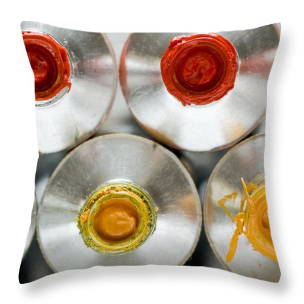 Artists' Oil Paints Throw Pillow by Frank Tschakert