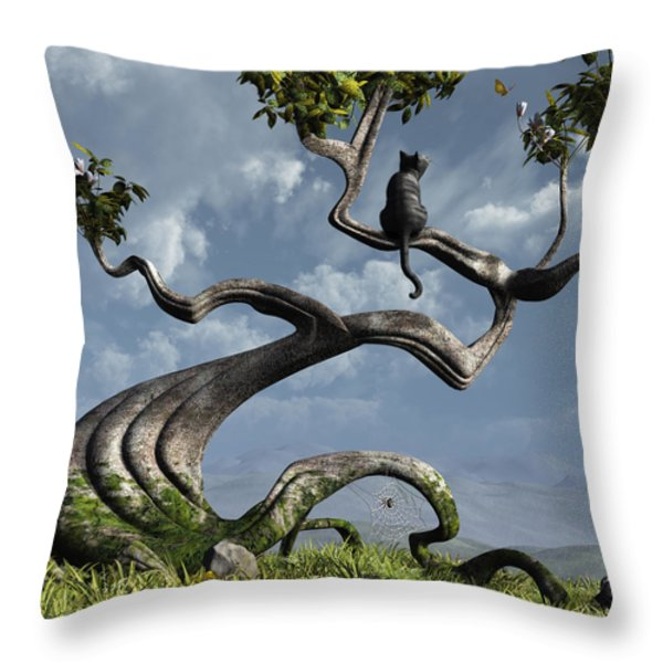The Sitting Tree Throw Pillow by Cynthia Decker