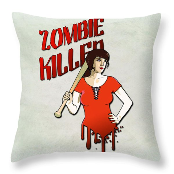 Zombie Killer Throw Pillow by Nicklas Gustafsson