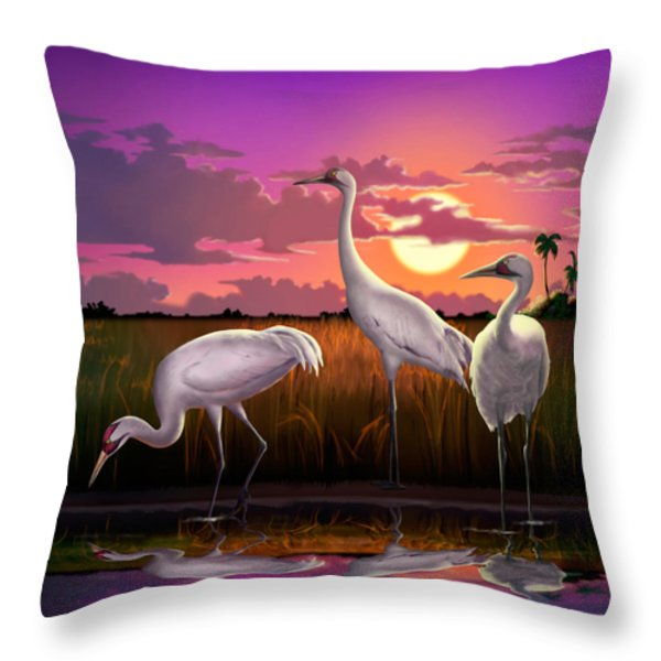Whooping Cranes Tropical Florida Everglades Sunset Birds Landscape Scene Purple Pink Print Throw Pillow by Walt Curlee
