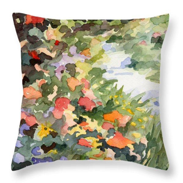 Path Monets Garden Watercolor Paintings Of France Throw Pillow by Beverly Brown Prints