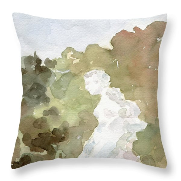 Statue Of A Woman Watercolor Paintings Of France Throw Pillow by Beverly Brown Prints