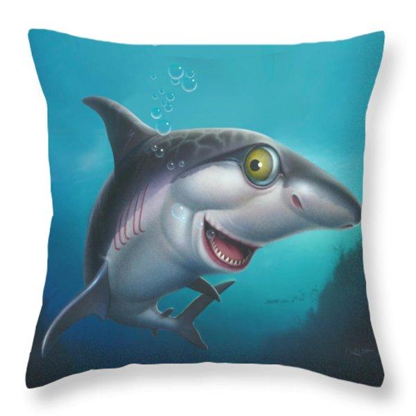 friendly Shark Cartoony cartoon under sea ocean underwater scene art print blue grey  Throw Pillow by Walt Curlee