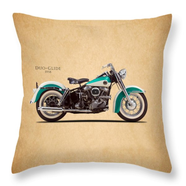 Harley-davidson Duo-glide 1958 Throw Pillow by Mark Rogan