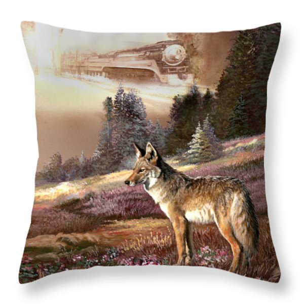 Encounter with the iron hors  Throw Pillow by Gina Femrite