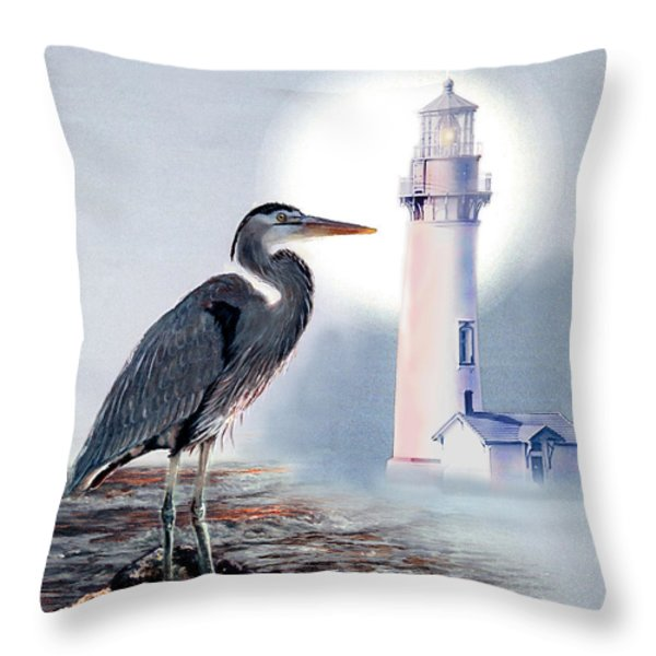 Blue Heron In The Circle Of Light Throw Pillow by Gina Femrite