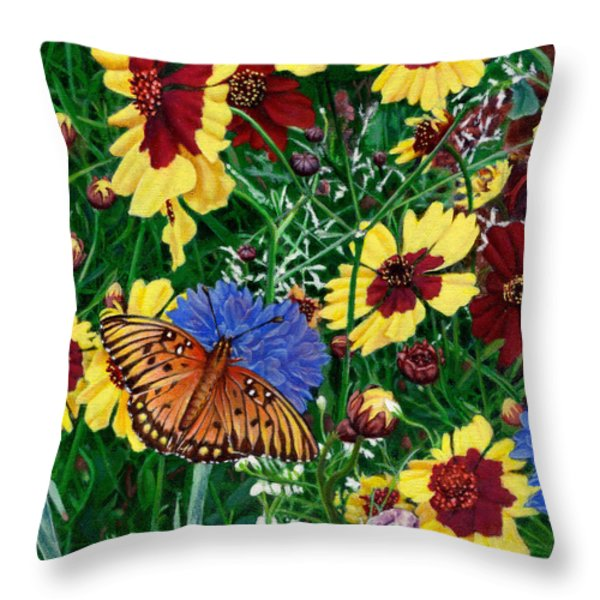 Butterfly Wildflowers Garden Oil Painting Floral Green Blue Orange-2 Throw Pillow by Walt Curlee