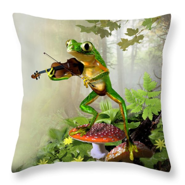 Humorous Tree Frog Playing a Fiddle Throw Pillow by Gina Femrite