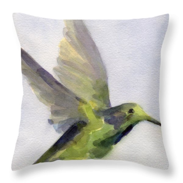 Hummingbird Watercolor Bird Painting Throw Pillow by Beverly Brown Prints