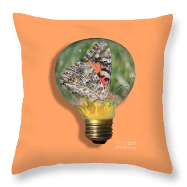 Butterfly In Lightbulb Throw Pillow by Shane Bechler