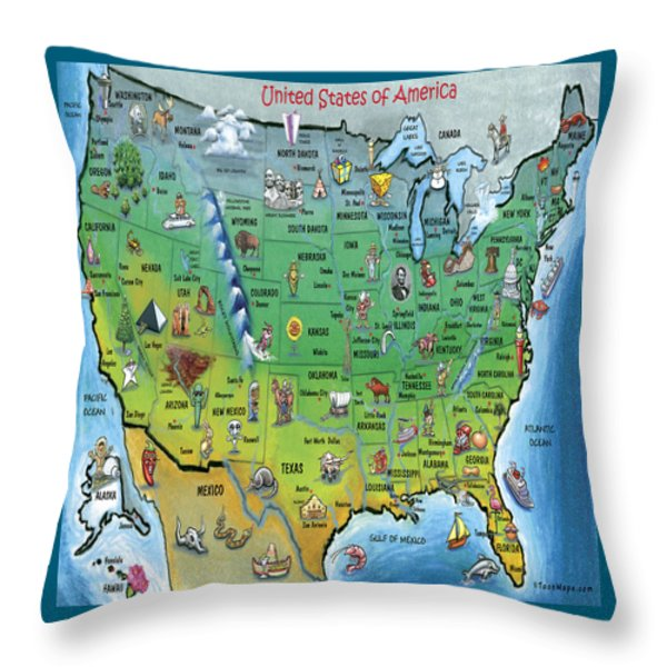 Usa Cartoon Map Throw Pillow by Kevin Middleton