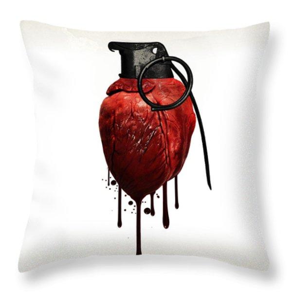 Heart Grenade Throw Pillow by Nicklas Gustafsson