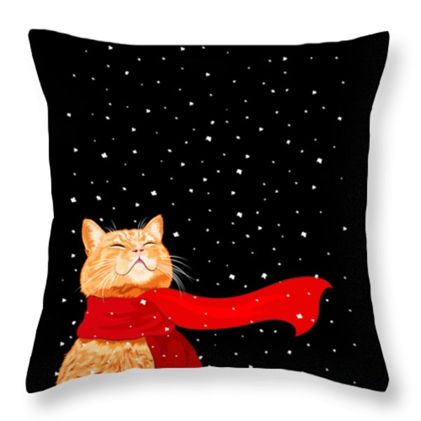 Cat With Scarf Throw Pillow by Carolina Matthes