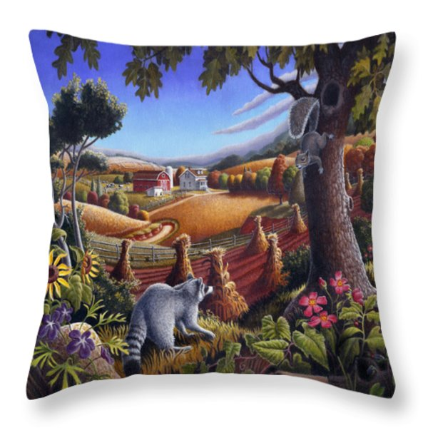 Rural Country Farm Life Landscape folk art Raccoon Squirrel Rustic Americana scene  Throw Pillow by Walt Curlee