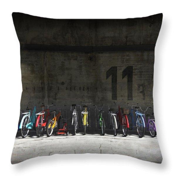 Bike Rack Throw Pillow by Cynthia Decker