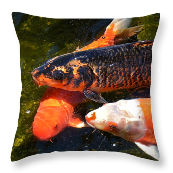 Three Koi Waiting Throw Pillow by Susan Wiedmann