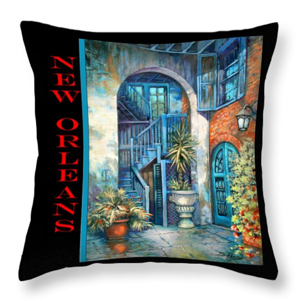 Brulatour Courtyard Throw Pillow by Dianne Parks
