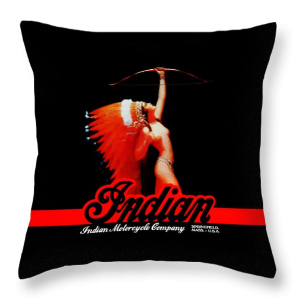 The Indian Motorcycle Company Throw Pillow by Mark Rogan