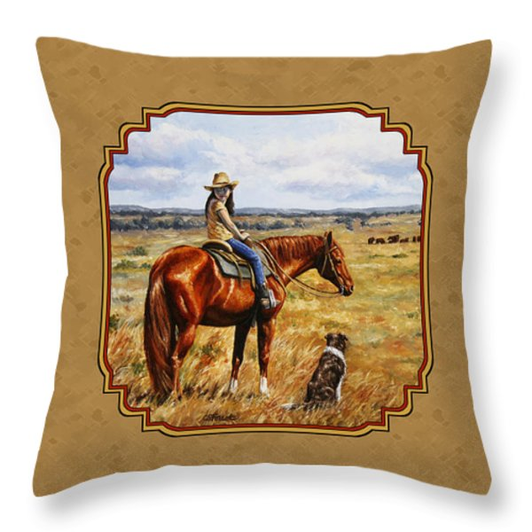 Horse Painting - Waiting for Dad Throw Pillow by Crista Forest