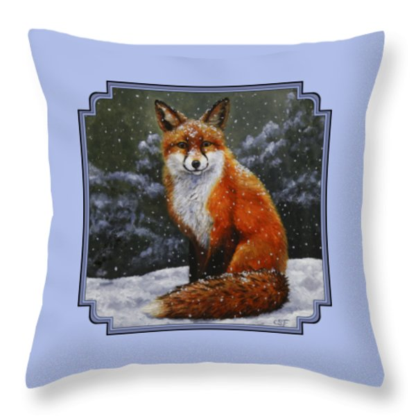 Snow Fox Throw Pillow by Crista Forest