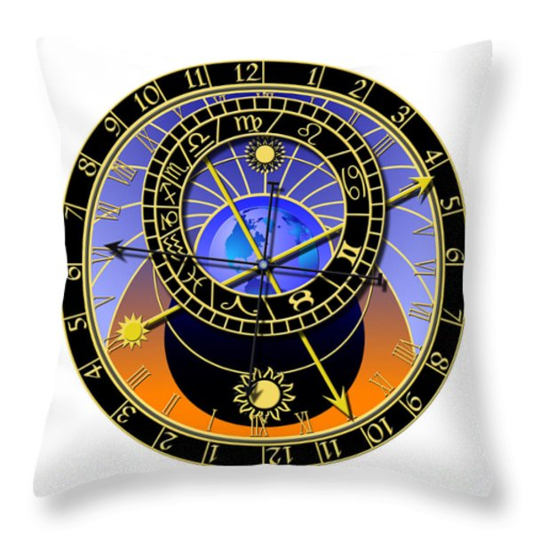 Astronomical Clock Throw Pillow by Michal Boubin