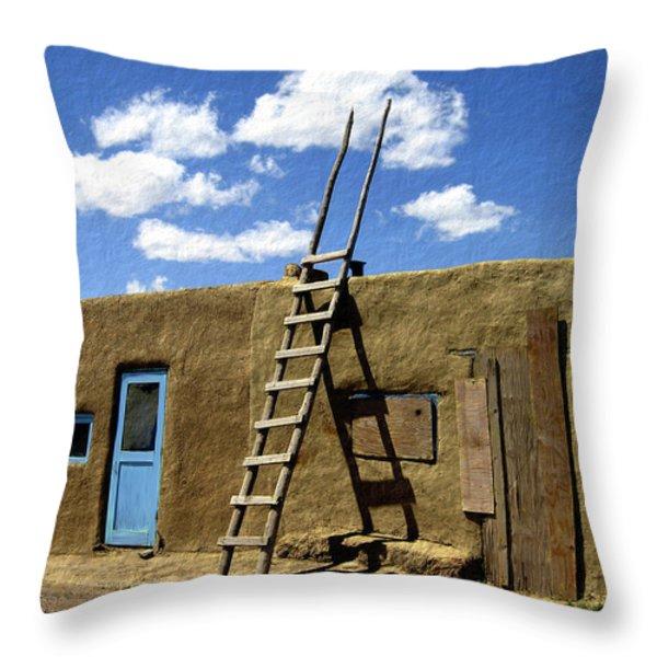 At Home Taos Pueblo Throw Pillow by Kurt Van Wagner