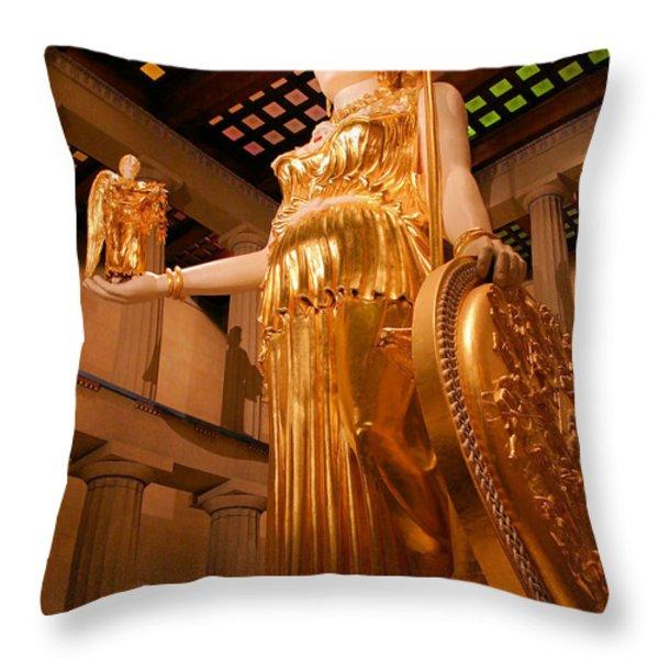 Athena with Nike Throw Pillow by Kristin Elmquist
