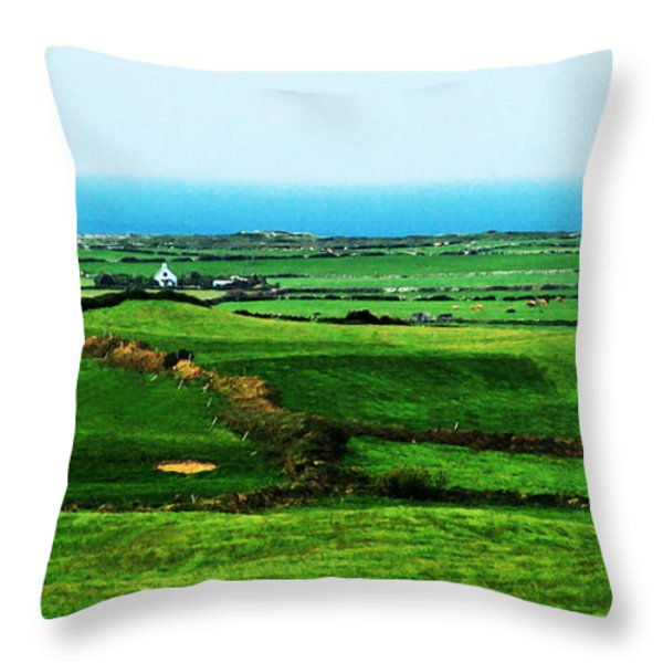Atlantic View Doolin Ireland Throw Pillow by Teresa Mucha