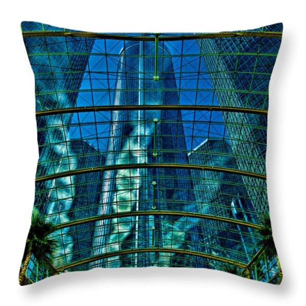 Atrium GM Building Detroit Throw Pillow by Chris Lord