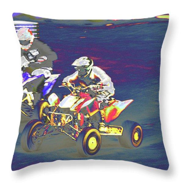 Atv Racing Throw Pillow by Karol Livote
