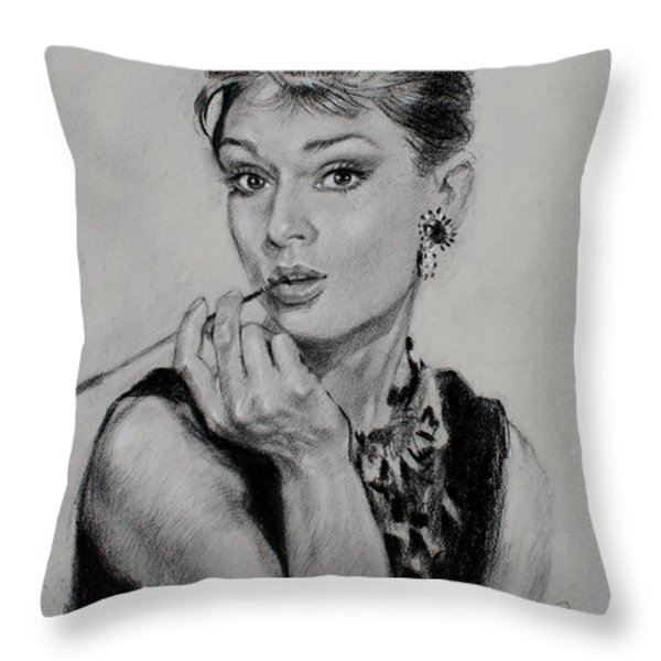 Audrey Hepburn Throw Pillow by Ylli Haruni