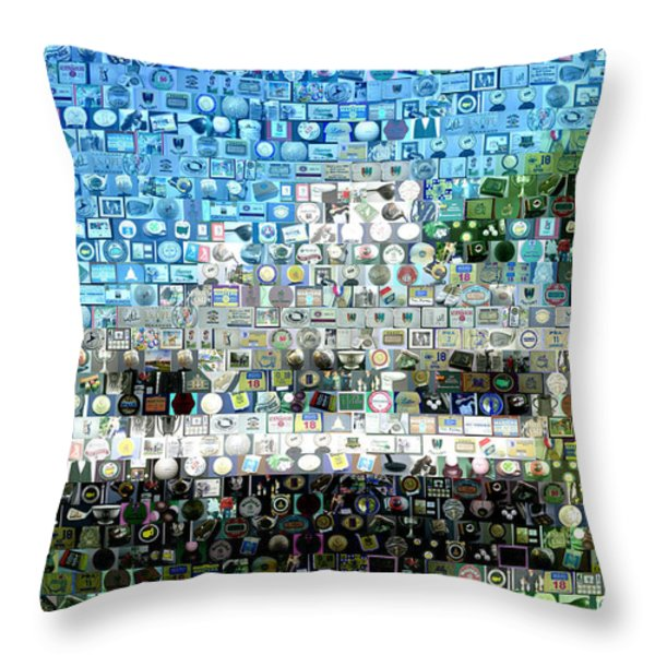 Augusta National Clubhouse Mosaic Throw Pillow by Paul Van Scott