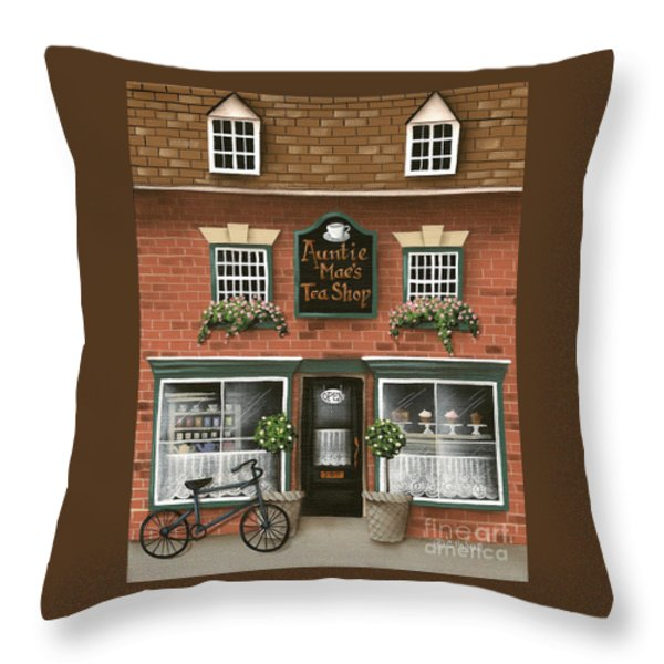 Auntie Mae's Tea Shop Throw Pillow by Catherine Holman