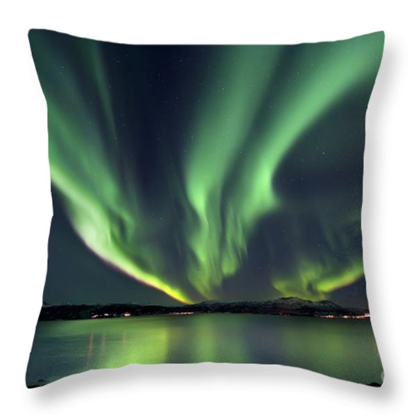 Aurora Borealis Over Tjeldsundet Throw Pillow by Arild Heitmann