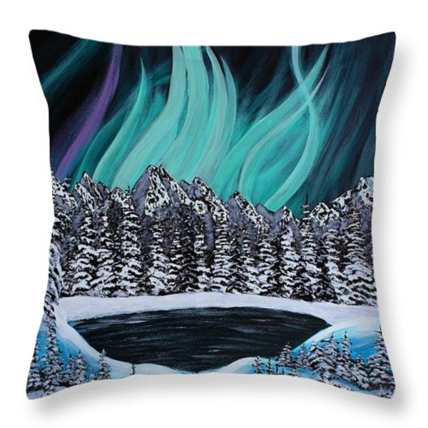 Aurora's Fiery Display Throw Pillow by Barbara Griffin
