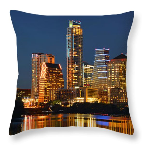 Austin Skyline at Night Color Panorama Texas Throw Pillow by Jon Holiday