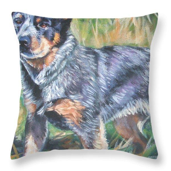 Australian Cattle Dog 1 Throw Pillow by Lee Ann Shepard