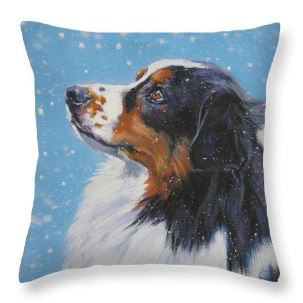 Australian Shepherd In Snow Throw Pillow by L A Shepard