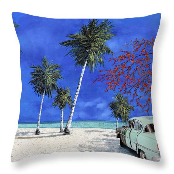 Auto Sulla Spiaggia Throw Pillow by Guido Borelli