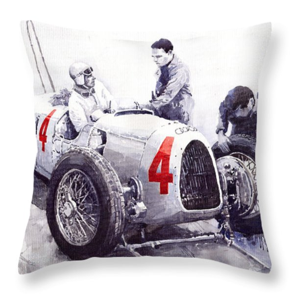 Auto Union C Type V16 B Rosenmeyer Throw Pillow by Yuriy  Shevchuk