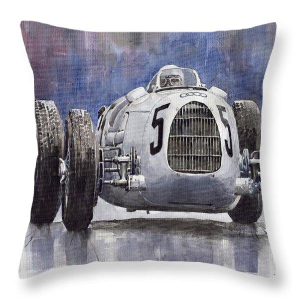 Auto-Union Type C 1936 Throw Pillow by Yuriy  Shevchuk