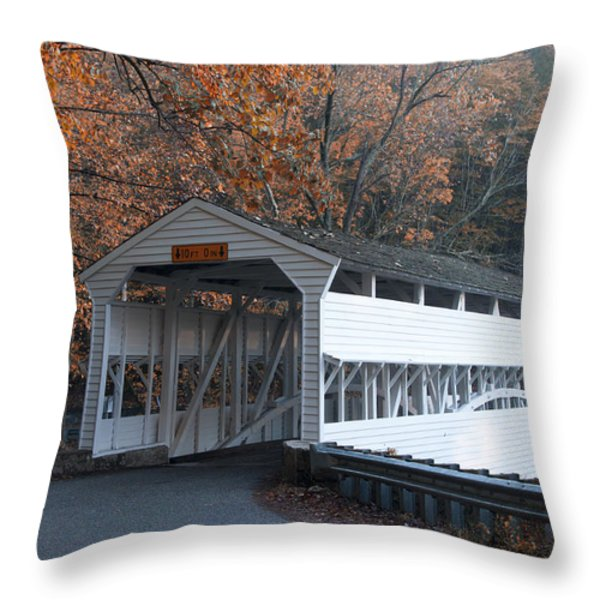 Autumn at Knox Covered Bridge in Valley Forge Throw Pillow by Bill Cannon