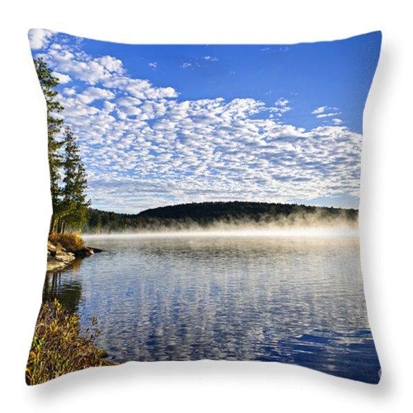 Autumn lake shore with fog Throw Pillow by Elena Elisseeva