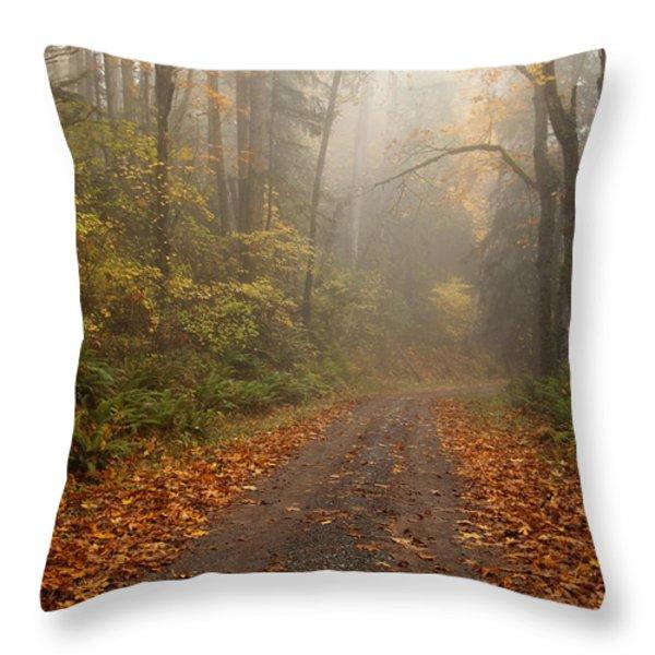 Autumn Lane Throw Pillow by Mike  Dawson